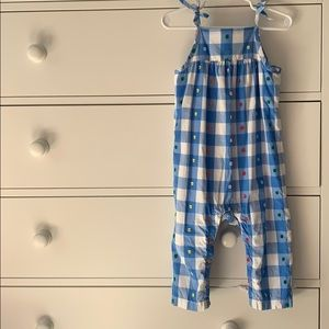 Hanna Andersson dot blue bow overalls 85 2T girls